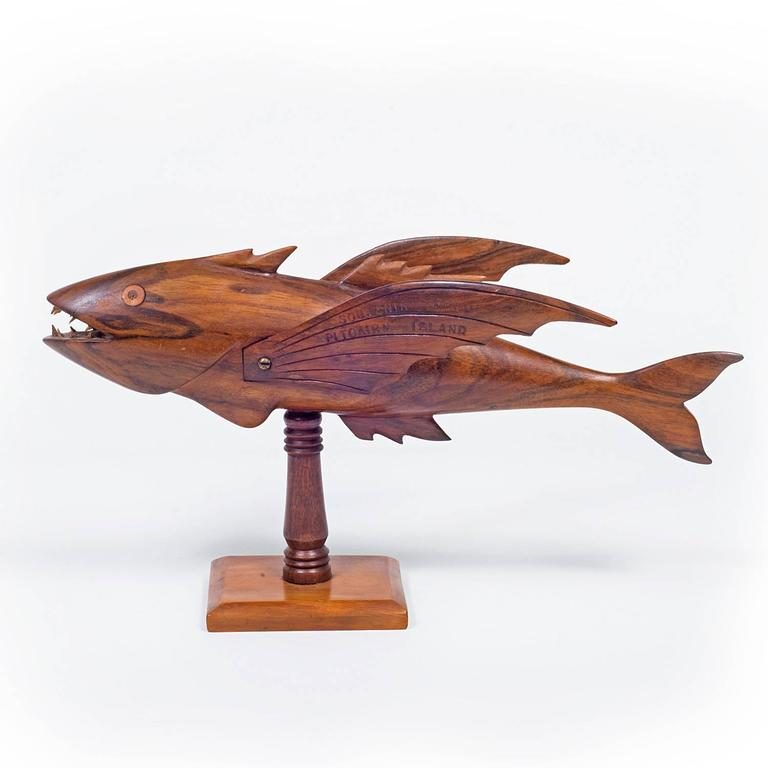Pitcairn island quot mutiny on the bounty carved flying fish