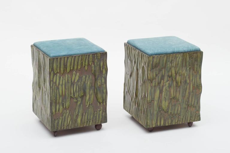 An extraordinary pair of handcrafted stools by the hands of the unique master woodcrafter Phillip Lloyd Powell.