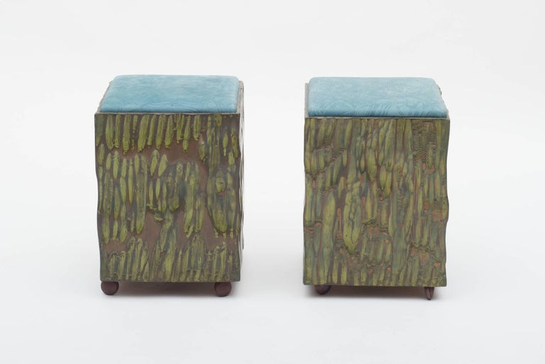 Mid-Century Modern Phillip Lloyd Powell Painted Hand Carved Stools with Abstract Patterned Textile For Sale