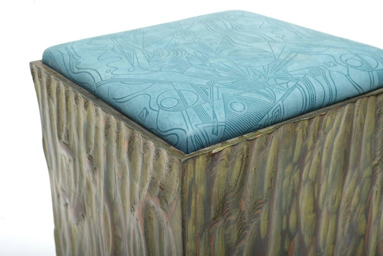 American Phillip Lloyd Powell Painted Hand Carved Stools with Abstract Patterned Textile For Sale