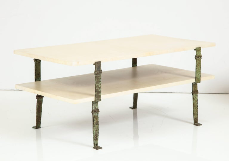 French Maurice Vignon Tierd Goatskin Parchment Coffee Table with Patinated Metal Legs For Sale