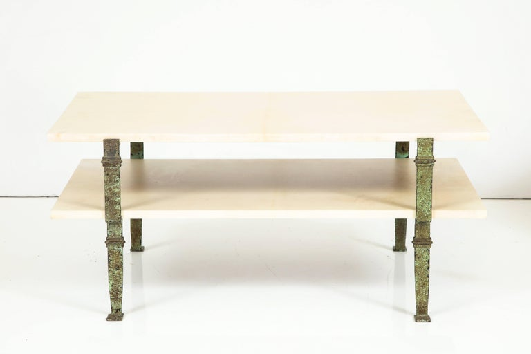 Mid-20th Century Maurice Vignon Tierd Goatskin Parchment Coffee Table with Patinated Metal Legs For Sale
