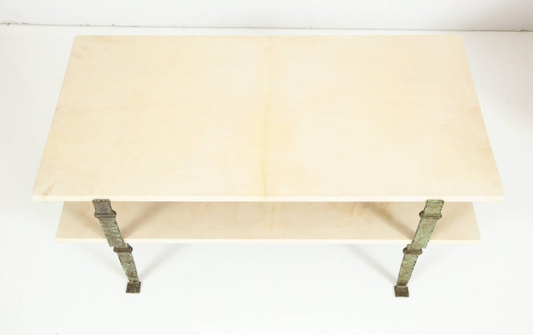 Maurice Vignon Tierd Goatskin Parchment Coffee Table with Patinated Metal Legs For Sale 1