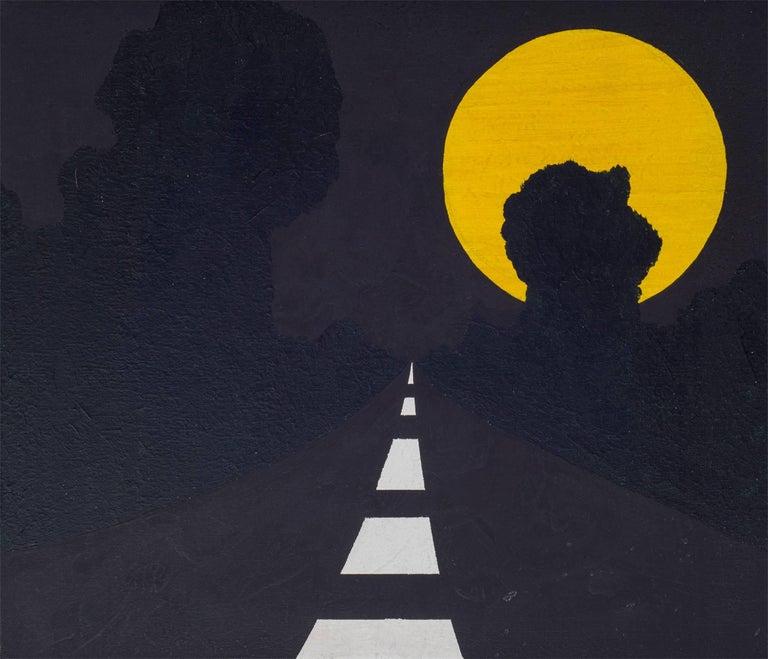 "Alan D'Arcangelo Acrylic on Canvas Painting ""Moon"" Signed En Verso, NYC, 1963 2"
