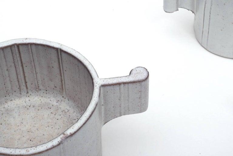 Italian Alessio Tasca Ceramic Demitasse Cups and Sugar Bowl, Italy 1970s For Sale