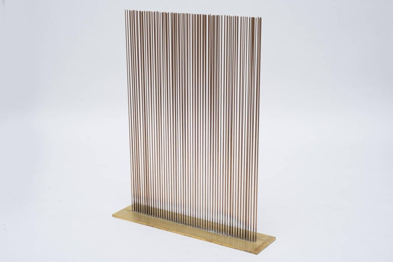 A great form this sonambient sculpture by Val Bertoia possesses the finest qualities of sound and movement the sculptures are known for. The length of each rod allows for maximum sway, the entire piece displaying a lovely wave motion when stroked,