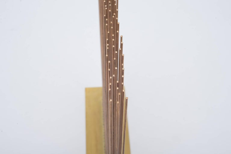 Val Bertoia Linear Three Row Copper and Brass Sonambient Sculpture, USA In Excellent Condition For Sale In New York, NY