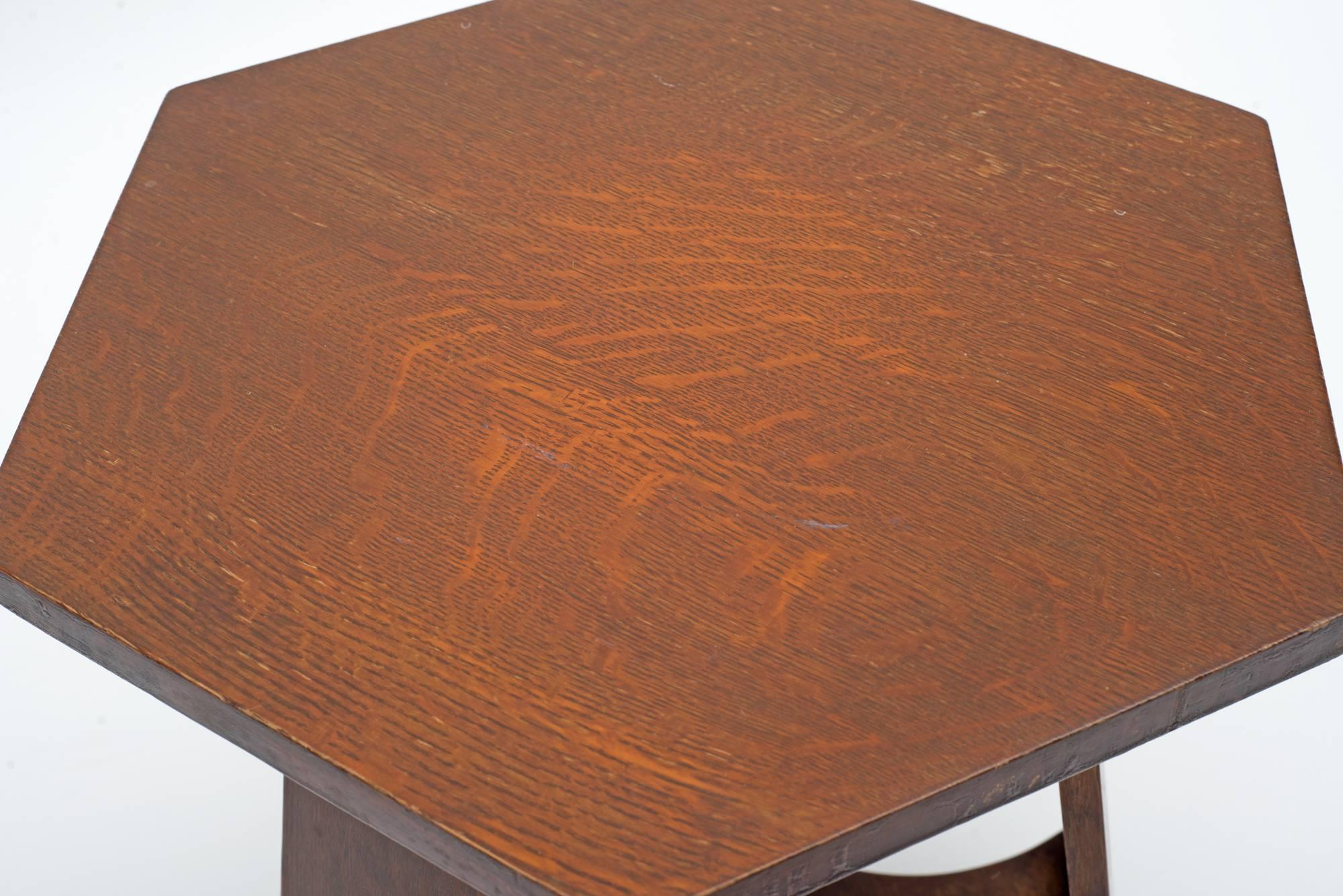 Arts And Crafts Stickley Brothers Quaint Furniture Co. Hexagonal Oak Taboret  Table, USA,