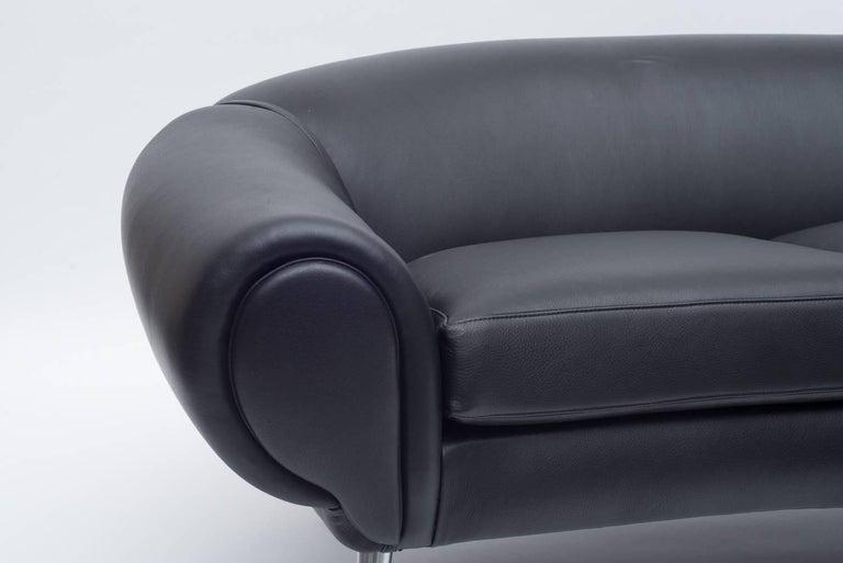 Mid-Century Modern Black Leather Sofa by Illum Wikkelsø, Denmark, 1960s For Sale