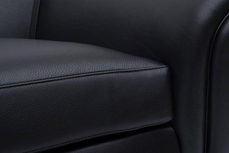 Danish Black Leather Sofa by Illum Wikkelsø, Denmark, 1960s For Sale