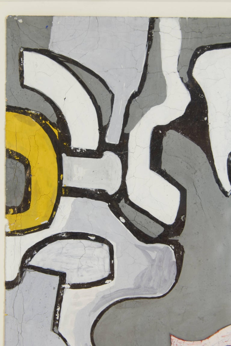 "American Nell Blaine ""Abstraction"" Gouache and India Ink on Paper, USA, 1944 For Sale"