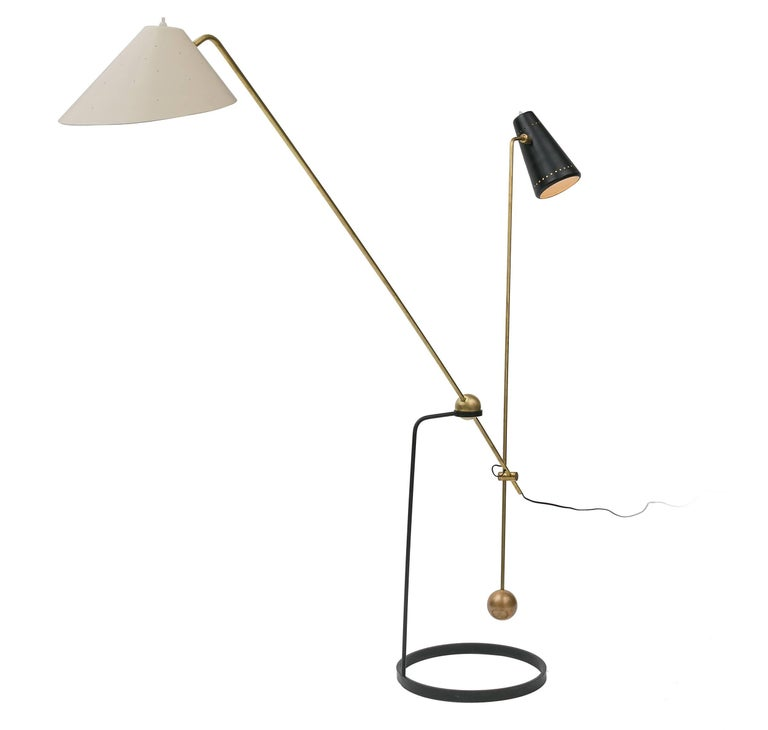 Mid-Century Modern Pierre Guariche Equalibrium Floor Lamp for Disderot, France, 1950s For Sale