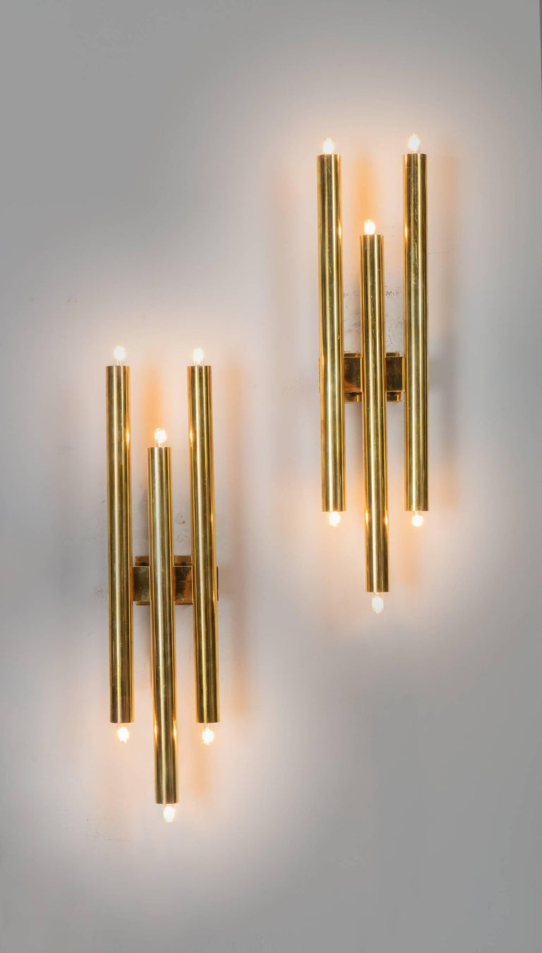 Gio Ponti Tubular Brass Sconces, Italy, 1960s 2