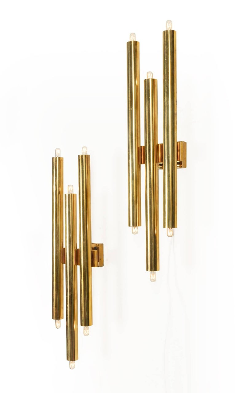 Gio Ponti Tubular Brass Sconces, Italy, 1960s 3
