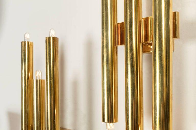 Italian Gio Ponti Tubular Brass Sconces, Italy, 1960s For Sale