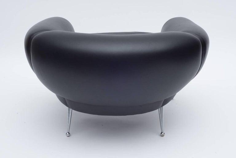 Danish Black Leather Lounge Chair by Illum Wikkelsø, Denmark, 1960s For Sale