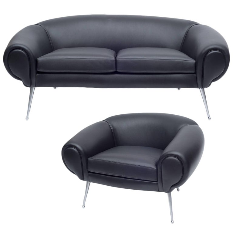 Aluminum Black Leather Lounge Chair by Illum Wikkelsø, Denmark, 1960s For Sale