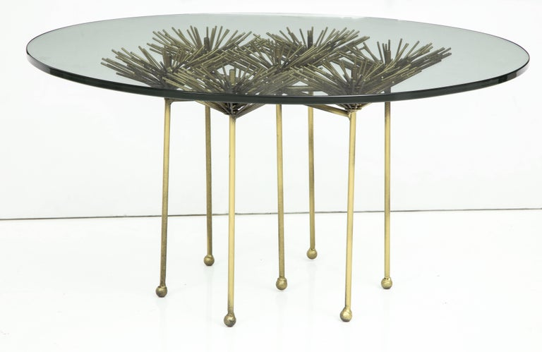 Mid-Century Modern Brutalist Gilt Floral Table with Glass Top in the Manner of Seandel or Jere For Sale