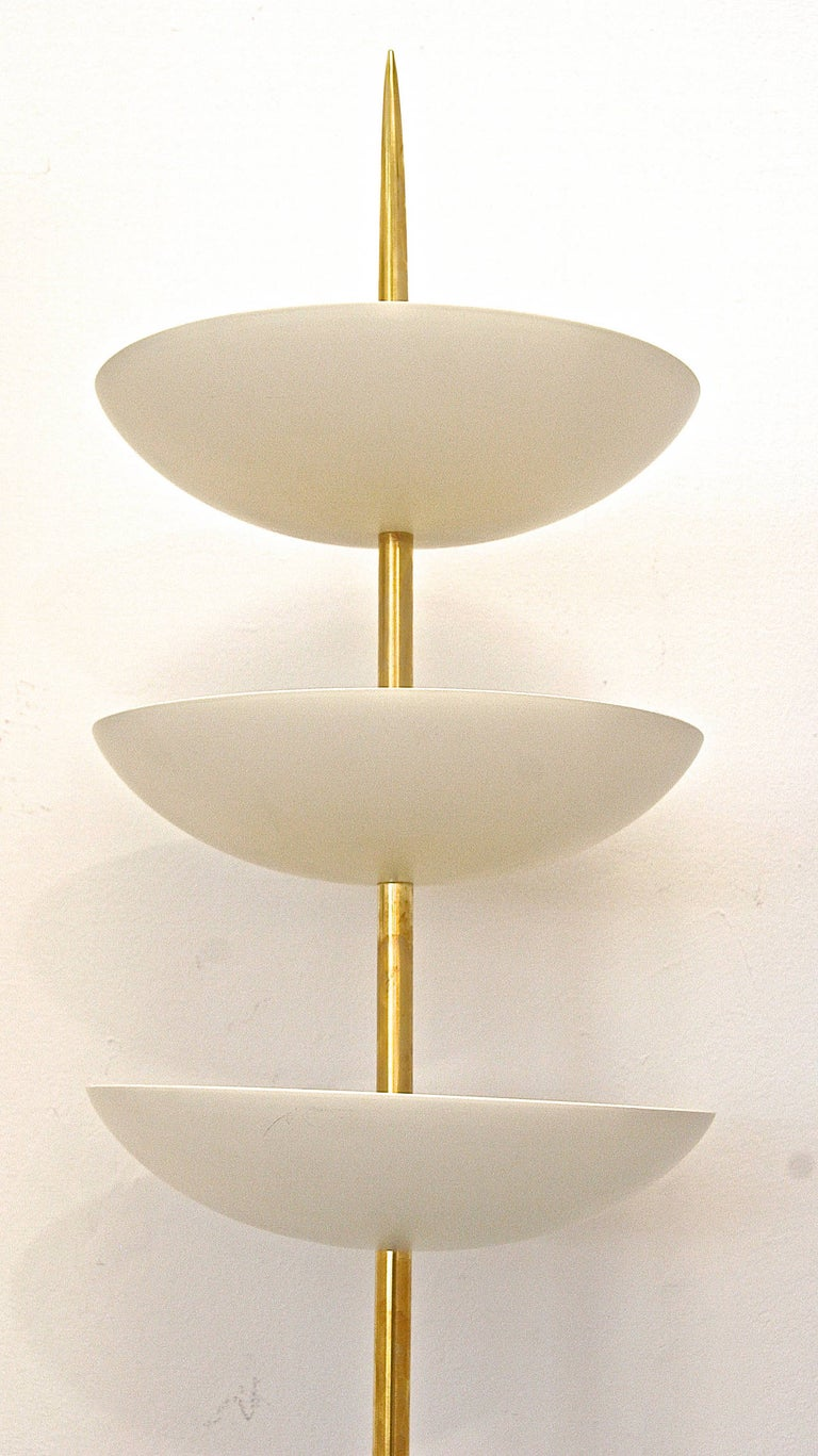 Italian Large Brass and White Metal Bowl Wall Sconces in the Style of Stilnovo For Sale