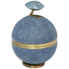Shagreen and Bronze Round Box, Lime Color Shagreen