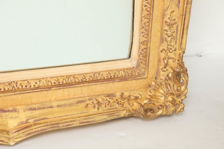 Wood Large Antique Mirror, C 1950 For Sale