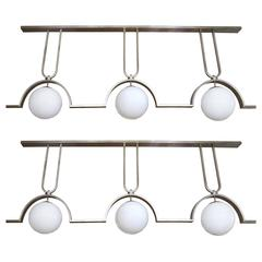 Two 9 Foot Long Modernist Ceiling Fixtures in Nickel Finish