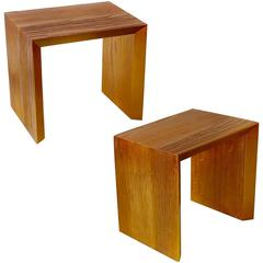 Pair of Custom-Made Side Tables in Copper Shades