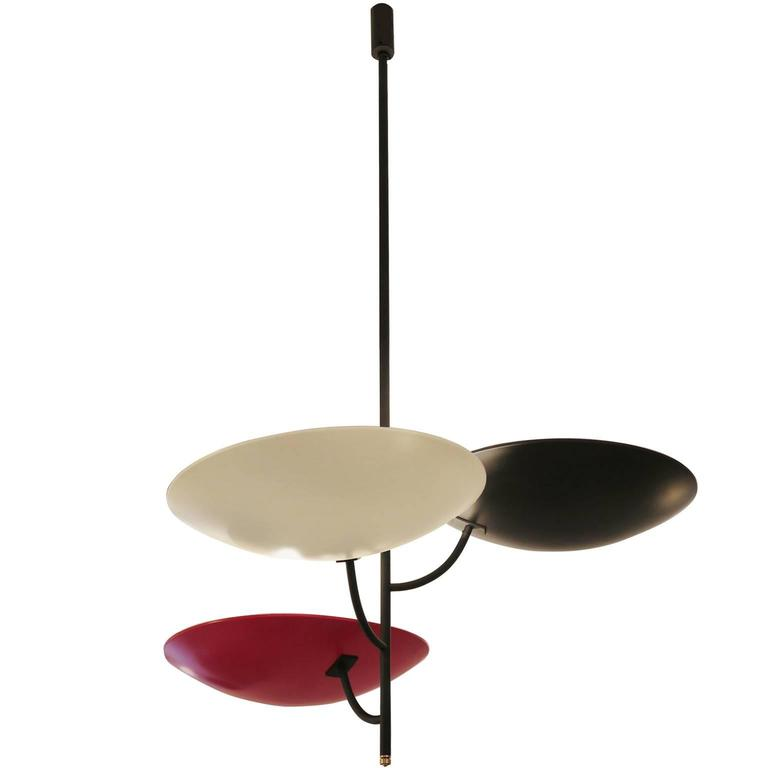 Italian Three-Arm Ceiling Light in Red, Black and White Painted Brass