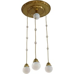 Koloman Moser 4 Opaline Glass Shade Chandelier, (Attributed)
