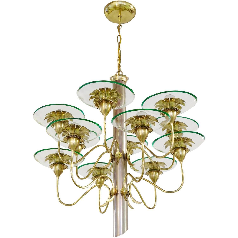 pietro chiesa fontana arte twelve arm chandelier for. Black Bedroom Furniture Sets. Home Design Ideas