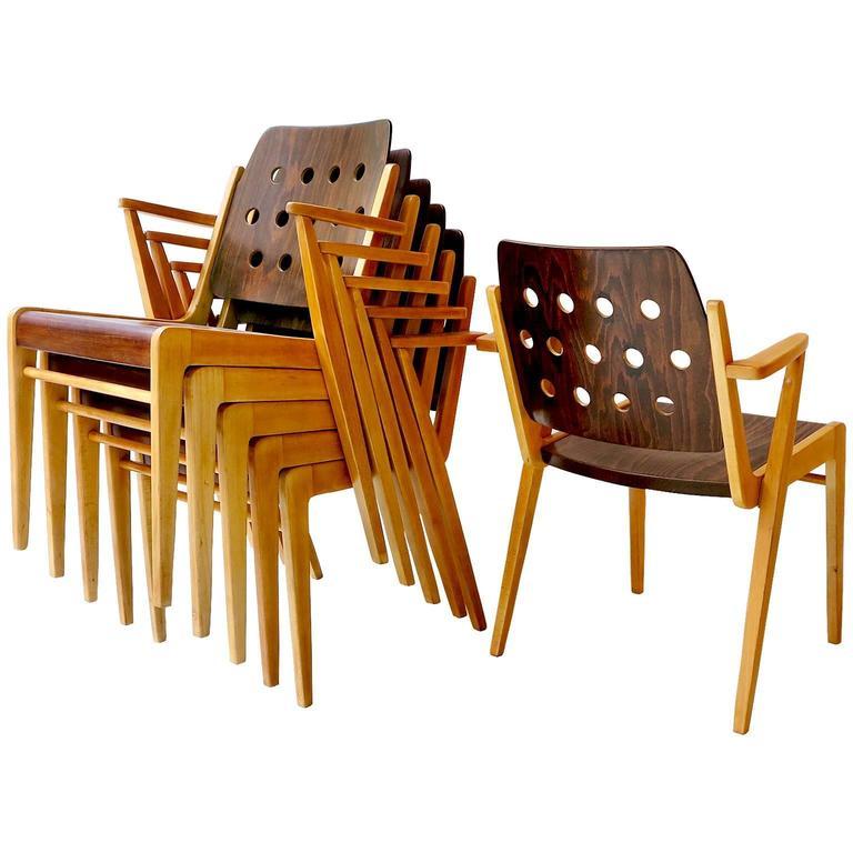 Merveilleux Franz Schuster Ten Stacking Armchairs, Austria For Sale