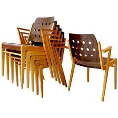 Franz Schuster Ten Stacking Armchairs, Austria