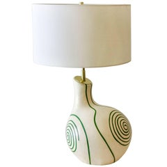 Mid-20th Century, French Ceramic Table Lamp with Swirl Design