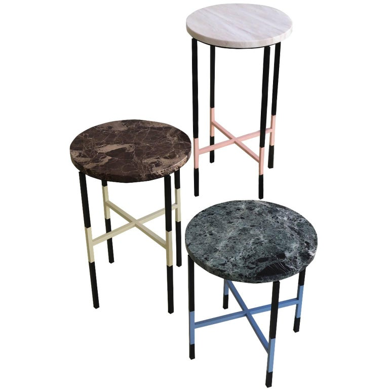 Three Small Side Tables with Marble Top and Iron Base
