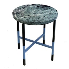 Italian Small Table with Marble Top and Iron Base