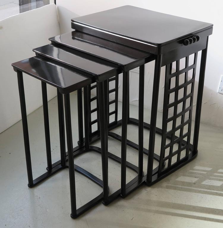 Nest of tables with grid by josef hoffmann for sale at 1stdibs vienna secession nest of tables with grid on the sides in ebonized stained beech wood and watchthetrailerfo