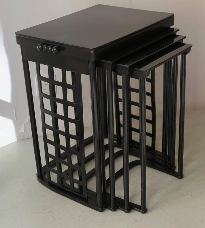 Vienna Secession Nest of Tables with Grid by Josef Hoffmann For Sale