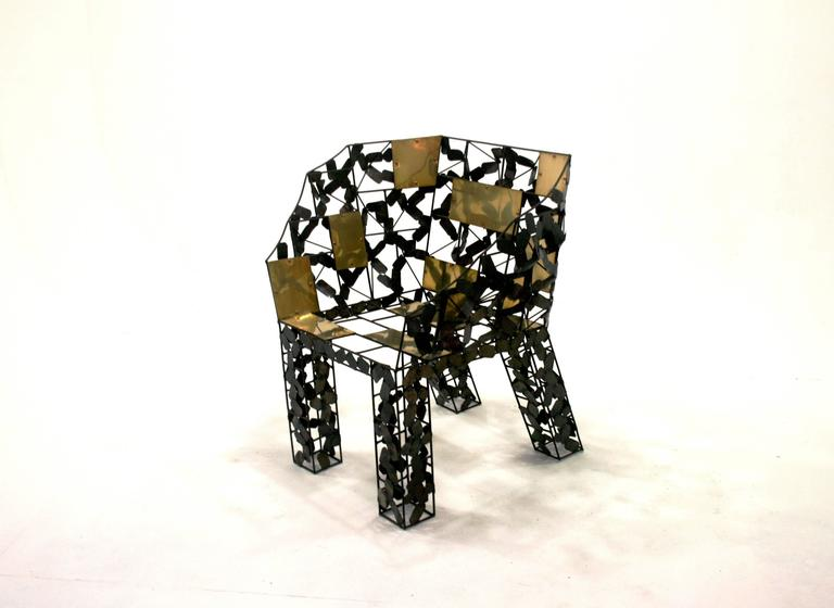 Functional art chair in blackened wrought iron with brass insets by artist Baltasar Portillo, El Salvador, 2016. Edition of one. The