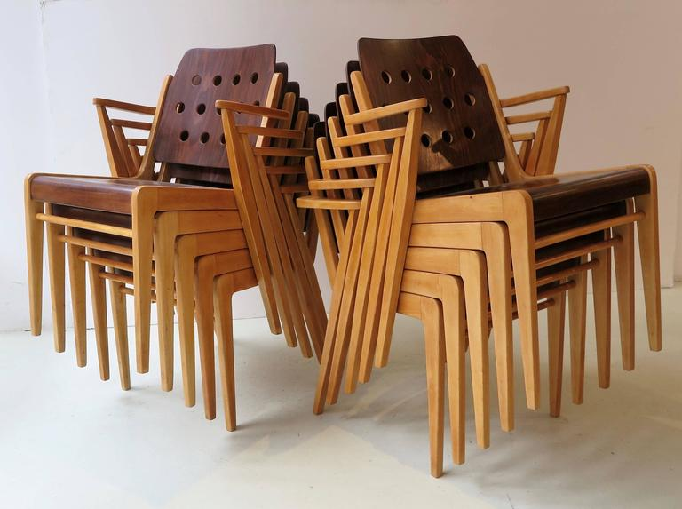 Mid-20th Century Franz Schuster Ten Stacking Armchairs, Austria For Sale