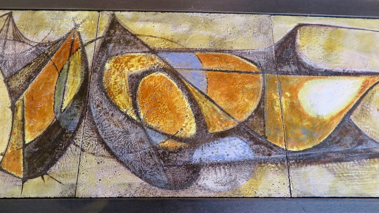 Painted French, Mid-Century Modern Ceramic Coffee Table by Artist Pierre Saint Paul For Sale