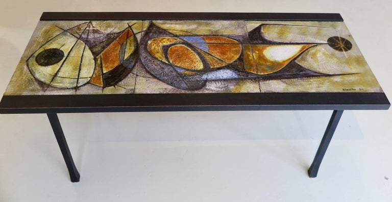 Mid-20th Century French, Mid-Century Modern Ceramic Coffee Table by Artist Pierre Saint Paul For Sale