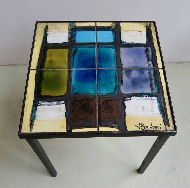 Painted Nest of Tables in Ceramic by Belarti For Sale