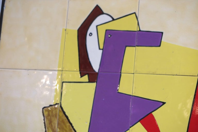 Modernist French Ceramic Tile Wall Panel In Good Condition For Sale In New York, NY