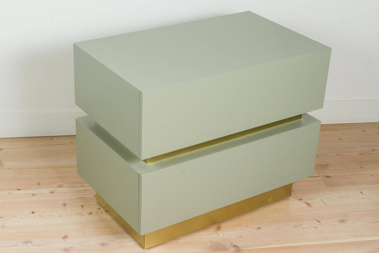 Stacked box nightstand with brass by Lawson-Fenning.