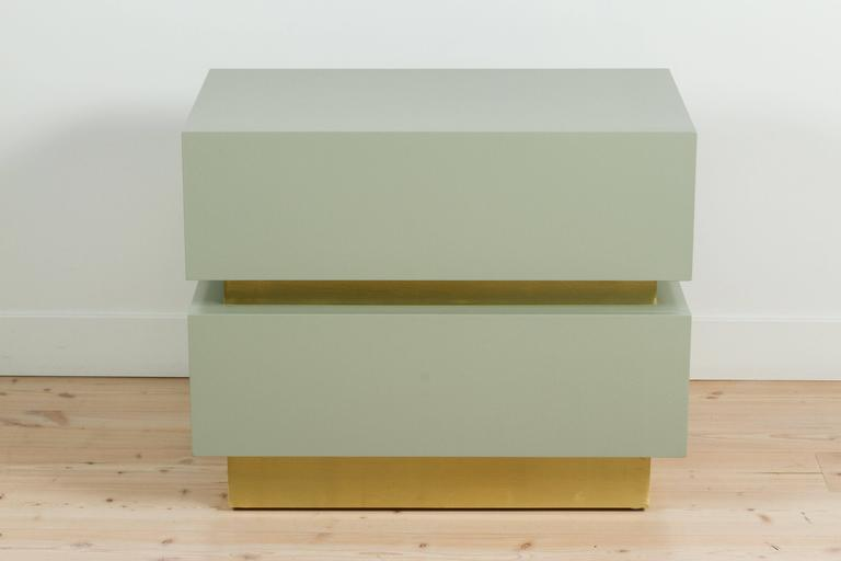 Mid-Century Modern Stacked Box Nightstand with Brass by Lawson-Fenning For Sale