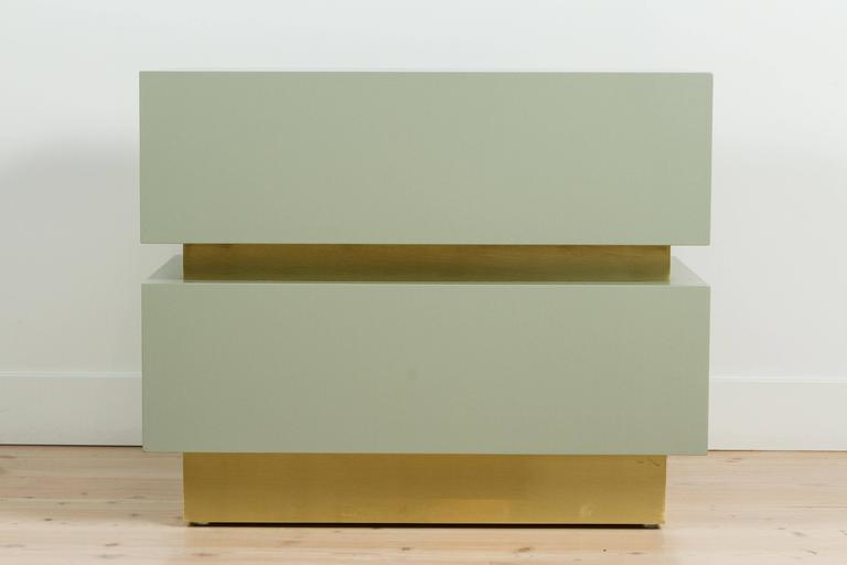 Stacked Box Nightstand with Brass by Lawson-Fenning In Excellent Condition For Sale In Los Angeles, CA