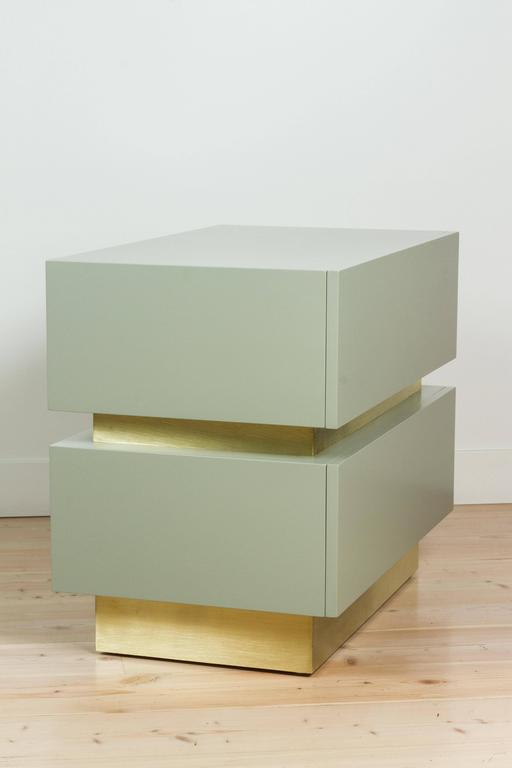 Contemporary Stacked Box Nightstand with Brass by Lawson-Fenning For Sale