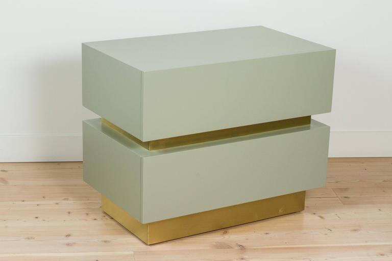 Stacked Box Nightstand with Brass by Lawson-Fenning For Sale 2