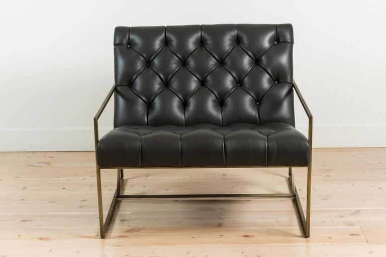 Thin Frame Lounge Chair in Diamond Tufted Charcoal Leather by Lawson-Fenning 7