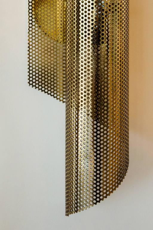 Brass Rolled Perforated Sconce by Lawson-Fenning 4